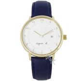【台南 時代鐘錶 agnes b.】優雅法式人文 BS9005J1@VJ42-KZ30B 手寫風簡約時尚手錶 皮帶 38mm