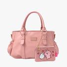 抓皺的包身造型 隨包附上P助、粉紅兔兔的鏈帶小包,萌趣可愛 絕對是你通勤、約會的必備包款