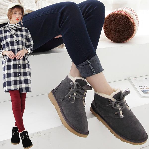 短靴 內撲毛繫帶短筒雪靴 香榭