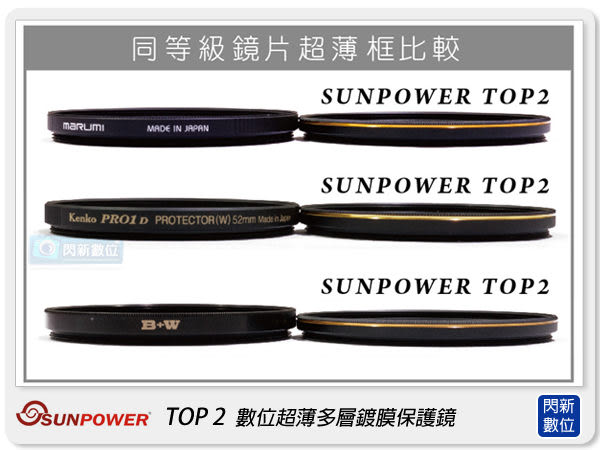 送拭鏡布~ SUNPOWER TOP2 55mm 薄框 多層鍍膜保護鏡(55,湧蓮公司貨)【0利率,免運費】