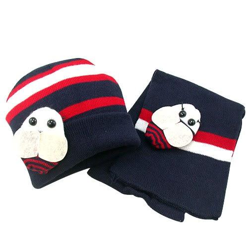 【iSFun】可愛蜜蜂*兒童圍巾+帽組/深藍 ◆86小舖 ◆