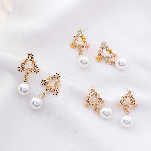 【NiNi Me】韓系耳環 氣質甜美花朵水鑽珍珠925銀針 耳環 N0262