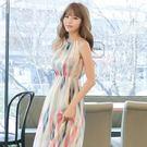 洋裝 波西米亞 套裝  雪紡紗連身裙  顯瘦無袖  長洋裝 條紋  喬依 【J103】