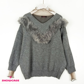 【SHOWCASE】透紗V領氣質毛領蕾絲袖針織上衣(灰)