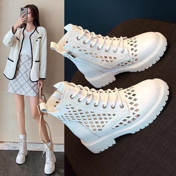 內增高鏤空馬丁靴女2021新款春秋單靴夏季薄款透氣百搭網紗短靴涼 快速出貨