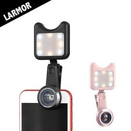【風雅小舖】【Larmor LM-3FL 多功能自拍神器專業補光燈+手機廣角鏡頭套裝組】