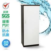 IHouse-SGS 防潮抗蟲蛀緩衝塑鋼單門置物鞋櫃胡桃