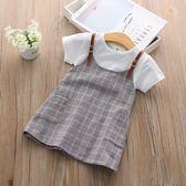 童裝女童連身裙夏裝新款韓版假兩件背帶短袖連身裙子 一米陽光