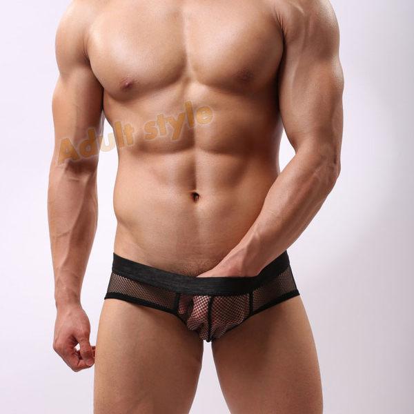 男內褲 性感 三角褲 Bad Boy(黑色)透氣低腰網眼內褲-M號『滿千88折』