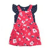 Carter s 短袖吊帶裙套裝 包屁衣+吊帶短裙洋裝二件組紅花朵 女寶寶【CA121I157】