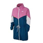 Nike AS W NSW 女子 藍粉 撞色 長版 立領 梭織 長袖 風衣 外套 CJ2047-691