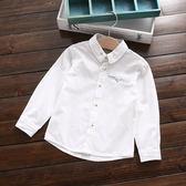 外貿簡約款 英倫男童直條拼接立領開扣襯衫 白色~EMMA商城