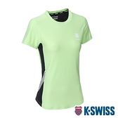 K-SWISS KS Logo W/5 Stripe Tee涼感排汗T恤-女-薄荷綠