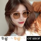 OT SHOP [現貨] 太陽眼鏡 中性男女 復古大方框金屬細框墨鏡 抗UV400 韓系顯小臉 黑/茶橘色 U123