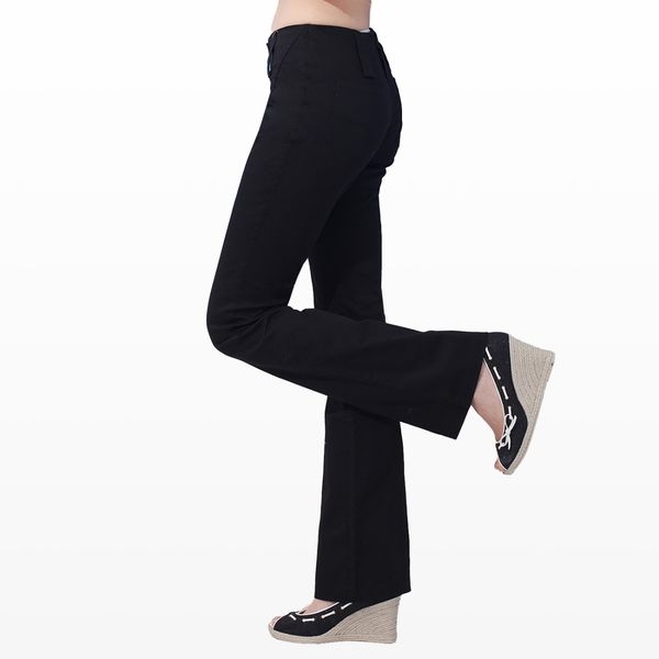 西裝褲--纖細長腿OL韓版一體成形中央壓線銀扣中腰小喇叭西裝褲(S-5L)-K01眼圈熊中大尺碼