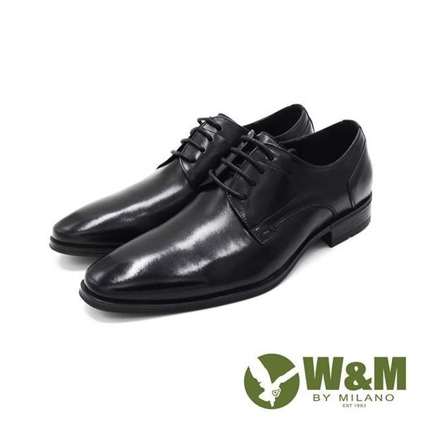 【南紡購物中心】W&M(男)氣墊感 素面綁帶皮鞋 男鞋-黑(另有棕)