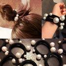 韓系氣質丸子頭必備 無接縫大小珍珠髮飾髮圈髮繩綁頭髮橡皮筋/G0010