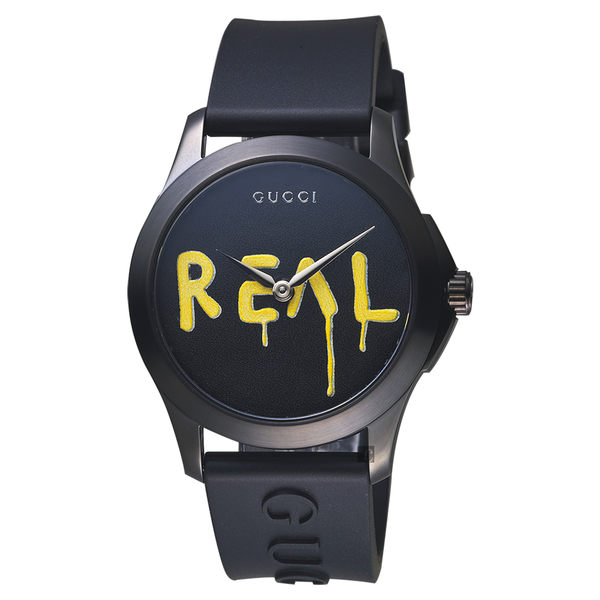 Gucci古馳 G-Timeless Real 造型錶-黑/38mm YA1264017