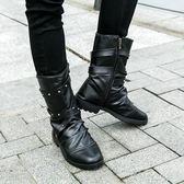 馬丁長筒男裝軍皮靴冬季青年體閒風衣小腳牛仔褲配錶演朋克鞋 芊惠衣屋