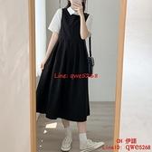 設計感氣質法式學生長裙秋裝黑色背帶連身裙子【CH伊諾】
