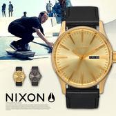 NIXON THE SENTRY Leather 男女兼用/時尚軍風/防水 A105-510 熱賣中!