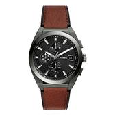 FOSSIL 紳士密令三眼腕錶-黑X咖啡