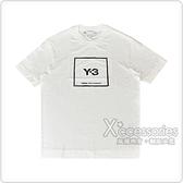 Adidas Y-3黑字迷彩方框LOGO設計純棉短T(男/米白)
