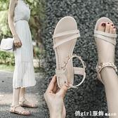 羅馬涼鞋 涼鞋女平底2021夏季新款時裝百搭仙女風ins潮搭裙子的帶鑚羅馬鞋 俏girl