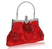 中式結婚包包新娘包紅色手提包女士珠繡手包名媛包亮片手拎包