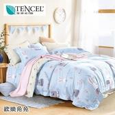 ☆MIT吸濕排汗法式柔滑天絲☆ 加大 薄床包兩用被(加高35CM)《歡樂兔兔》