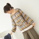 【慢。生活】蕾絲拼接條紋配色上衣 11997 FREE芥黃