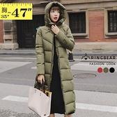 鋪棉外套--保暖立領連帽拉鍊口袋顯瘦修身舖棉長版外套(黑.紅.綠L-3L)-J261眼圈熊中大尺碼◎