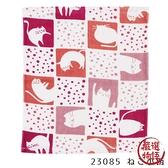 【日本製】貓小紋系列 拭手巾 貓咪格紋圖案 紅色 SD-7011 - 日本製 貓小紋系列