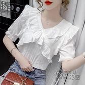短袖衫 泡泡袖短袖雪紡襯衫女裝夏裝年新款潮遮肚子上衣洋氣高端小衫 衣櫥秘密