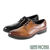 T59-10896 男款紳士皮鞋 漸層雷射雕孔壓紋縫線綁帶輕量紳士皮鞋/學生鞋/商務鞋【GREEN PHOENIX】