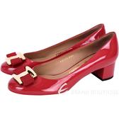 Salvatore Ferragamo Ninna 蝴蝶結飾漆皮粗跟鞋(紅色) 1610075-54