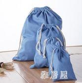 旅行收納袋淺藍牛仔布袋束口袋衣物整理袋抽繩布袋內衣 JY5804【喵可可】