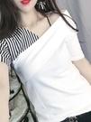 心機短T 歐洲站新款夏季時尚露肩小性感上衣洋氣純棉拼接撞色短袖T恤女裝t