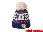 MIKI HOUSE 普奇熊北歐風保暖毛線帽(藏藍)
