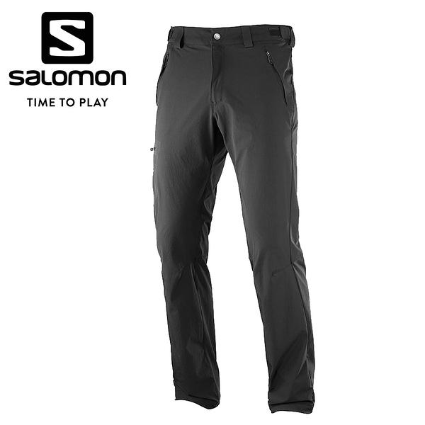 法國[Salomon] Wayfarer Zip 男款兩截式薄軟殼登山長褲 黑