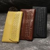 油蠟皮皮夾(長夾)-手工編織多卡位先蓋式男錢包3色73qs67【時尚巴黎】