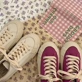 帆布鞋女復古顯白板鞋百搭鞋子小白鞋夏【橘社小鎮】