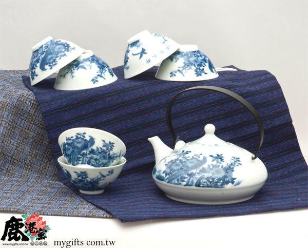 103-2058B【鹿港窯】瓷器-七件茶具組-提樑壺-錦上添花