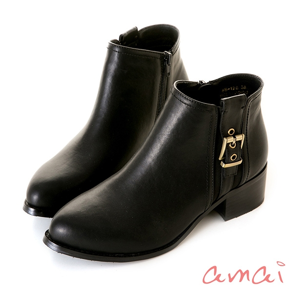 amai切爾西側扣環裝飾踝靴 黑