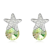水晶耳環 925純銀耳針式-鑲鑽星星生日情人節禮物女飾品5色73bd157【時尚巴黎】