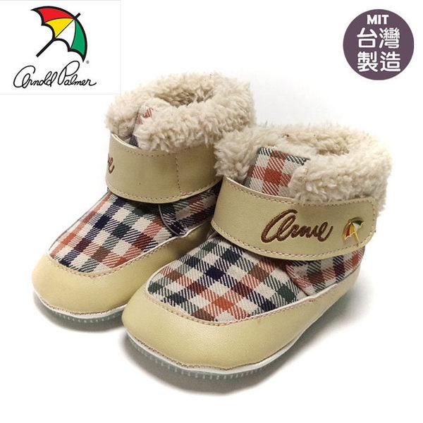正版ARNOLD PALMER雨傘牌格紋寶寶靴.學步鞋.保暖靴.米13~16號~EMMA商城