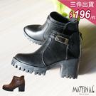 短靴 側方扣厚底短靴 MA女鞋 T318...