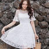 美之札[98678-QF]中大尺碼*浪漫午茶風鏤空網紗層次蕾絲荷葉短袖洋裝