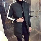 夾克外套-棒球領時尚撞色線條中長版夾棉男外套3色73qa15【時尚巴黎】