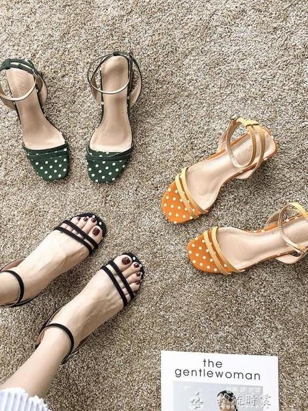 鞋子女新款涼夏季新款韓版學生百搭一字帶羅馬涼鞋粗跟高跟鞋 新年禮物